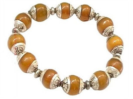 Tibetan 12X10mm 925 Silver Repousse Beeswax Amber Beads Beaded Bracelet - $22.45