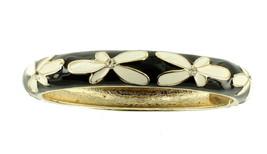 VINTAGE CLAMPER BLACK & WHITE ENAMEL MOD FLOWERS CRYSTAL RHINESTONE BRAC... - $64.79