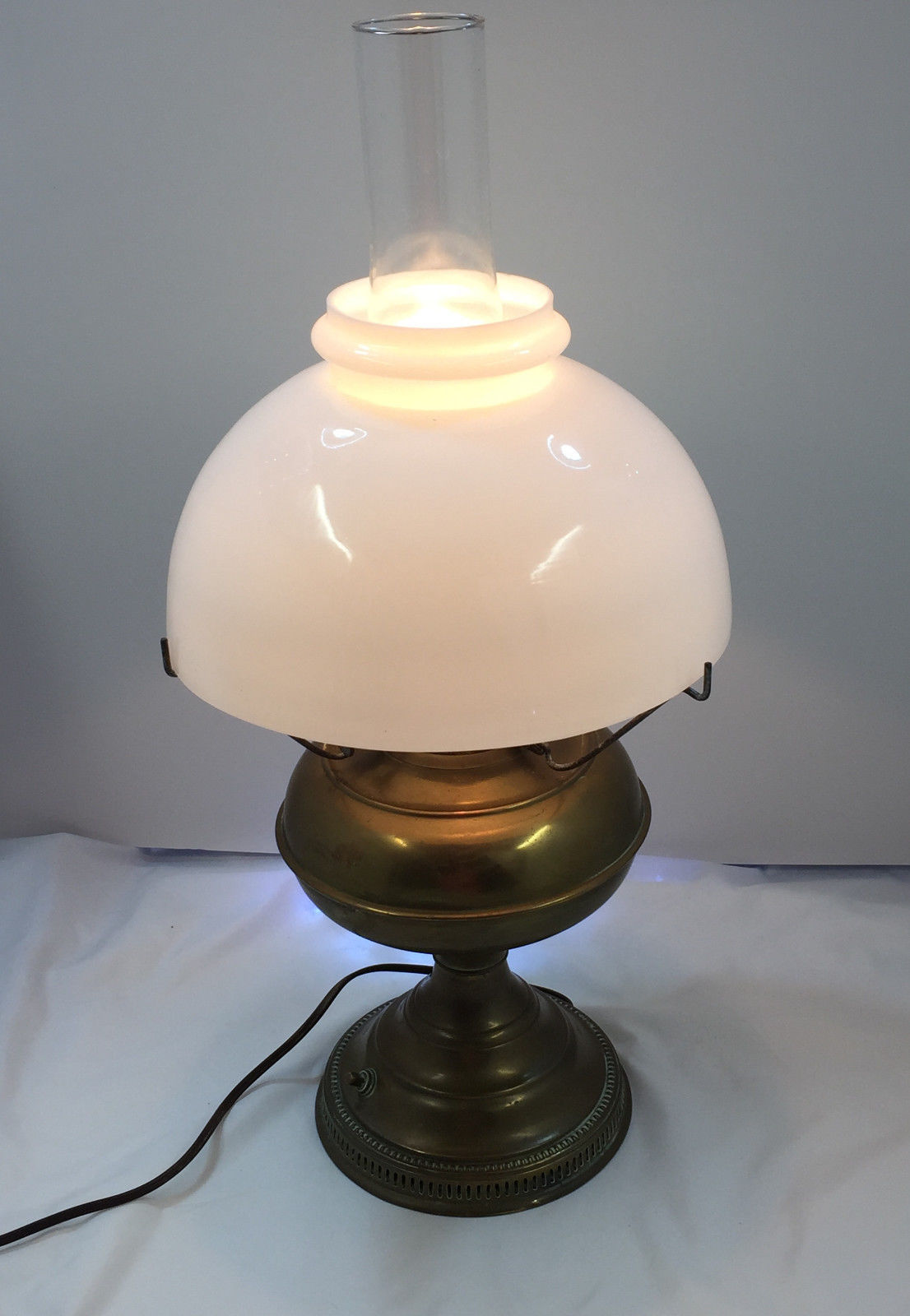 Brass oil lamp with milk glass shade lamp design ideas vintage electrified brass oil lamp with large milk glass shade mozeypictures Choice Image
