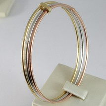 TRIPLE 18K ROSE YELLOW WHITE GOLD BANGLE RIGID BRACELET, SMOOTH, MADE IN ITALY image 2