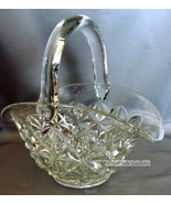 L.E. Smith Cut Glass Square Star Pattern Crystal Handle Brides Basket - $45.99