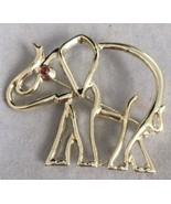 Vintage ELEPHANT PIN RHINESTONE EYE SIGNED SEARS LARGE Goldtone Oitline - $24.14