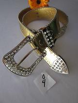 WOMEN FAUX LEATHER WESTERN GOLD FASHION BELT CROSS SILVER BEADS BUCKLE 2... - $29.39