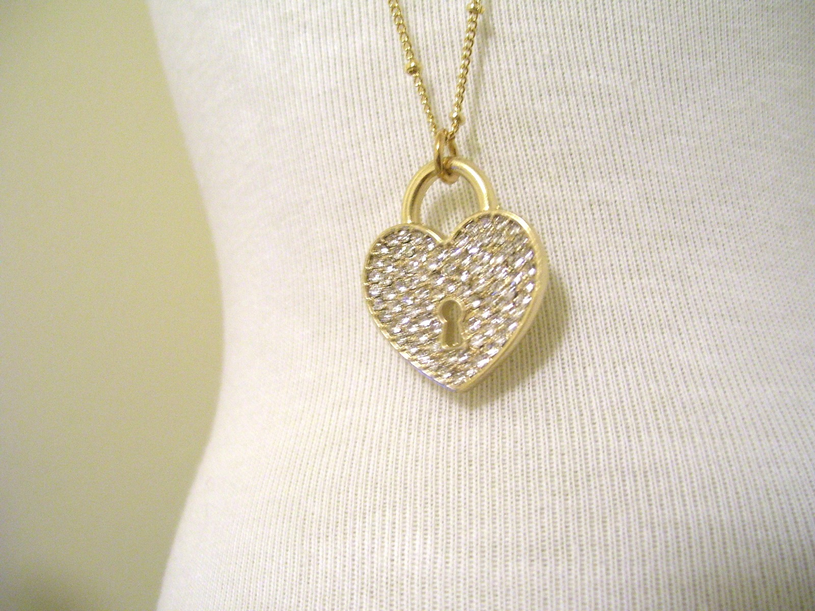 Gold Heart shaped Pave Locket on gold chain