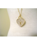 Gold Heart shaped Pave Locket on gold chain - $22.00