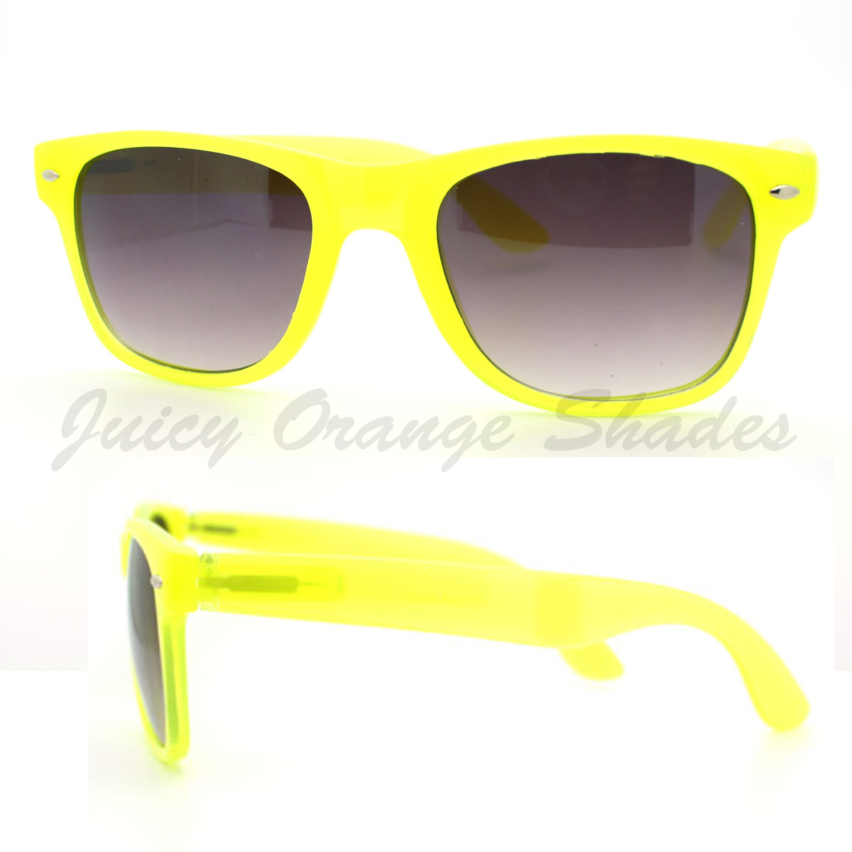 Bright Neon Fashion Unisex Old School Horn Rimmed Sunglasses 6 Colors
