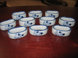 10 (Ten) Floral Blue and White Porcelain Napkin... - $125.00