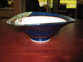 Footed Hand Painted Cobalt Blue Outer White Inner 6  X 3  Flared Rice Bowl - $85.00