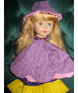 Girls Medium Purple Floral Fabric Petal Hat and matching 18 inch Doll hat - $18.00