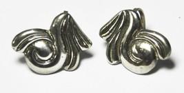 Beautiful Mexico Silver Absract Swirl Earrings Clip on Screw Backs 28mm - £9.73 GBP