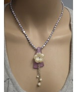 Seaglass Necklace Pearls and MOP Flower Handcrafted  - $39.00