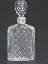 Hand Cut glass silver ring neck decanter oval stopper Portugal - $73.52