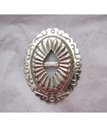 """Oval slotted silver metal stamped concho  2.25"""" x 1.75"""" NOS Taiwan - $6.92"""