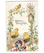 Easter Greetings Chicks Ringing Bell Small Silk Flower Vntg 1908 Postcard - $4.99
