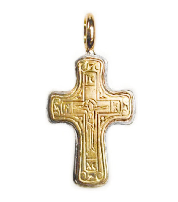 Primary image for  Gerochristo 5065 -  Solid 18K Gold & Silver Byzantine Cross Pendant