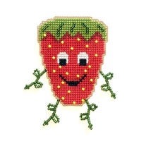 Strawberry Buddy Kit valentine cross stitch kit Flowers 2 Flowers - $8.00