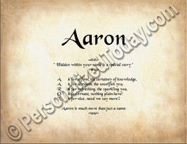 Aaron Hidden Within Your Name Is A Special Story Letter Poem 8.5 x 11 Print - $8.95