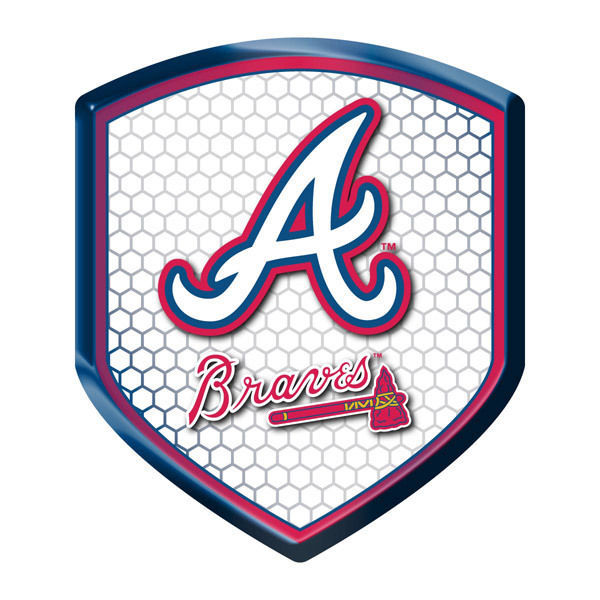 ATLANTA BRAVES HIGH INTENSITY REFLECTOR SHIELD DOMED TEAM MLB BASEBALL DECAL 1