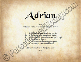 Adrian Hidden Within Your Name Is A Special Story Letter Poem 8.5 x 11 P... - $8.95