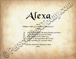 Alexa Hidden Within Your Name Is A Special Story Letter Poem 8.5 x 11 Print - $8.95