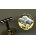 "Buffalo nickel ""Sacred White Buffalo"", Gold on silver,coin cufflinks - $86.00"