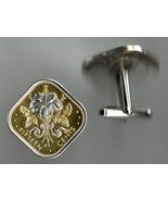 "Bahamas 15 cent ""White Hibiscus"" 2 Toned Gold on silver coin cufflinks - $196.00"