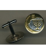 "Israel 10 Agorot ""Menorah "" 2 Toned Gold on silver, coin cufflinks - $98.00"