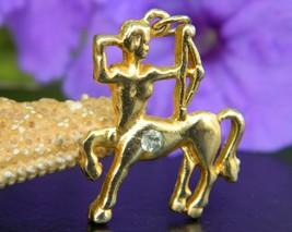 Sagittarius Centaur Horse Archer Pendant Charm Gold Tone Rhinestone - $17.95