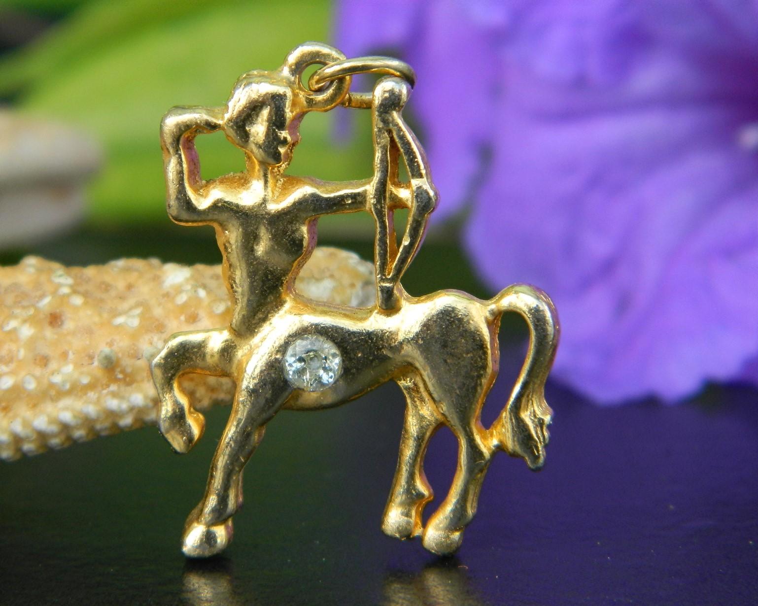 Sagittarius Centaur Horse Archer Pendant Charm Gold Tone Rhinestone