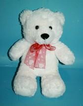 "Aurora Stuffed Animal White Plush TEDDY BEAR 10"" Toy Red Valentines Hear... - $19.34"