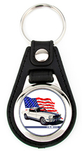 Shelby GT-350 Ford Mustang Richard Browne Artwork Keychain Key Fob - with flag - $7.50