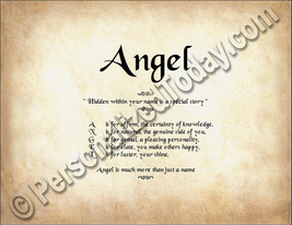 Angel  Hidden Within Your Name Is A Special Story Letter Poem 8.5 x 11 P... - $8.95