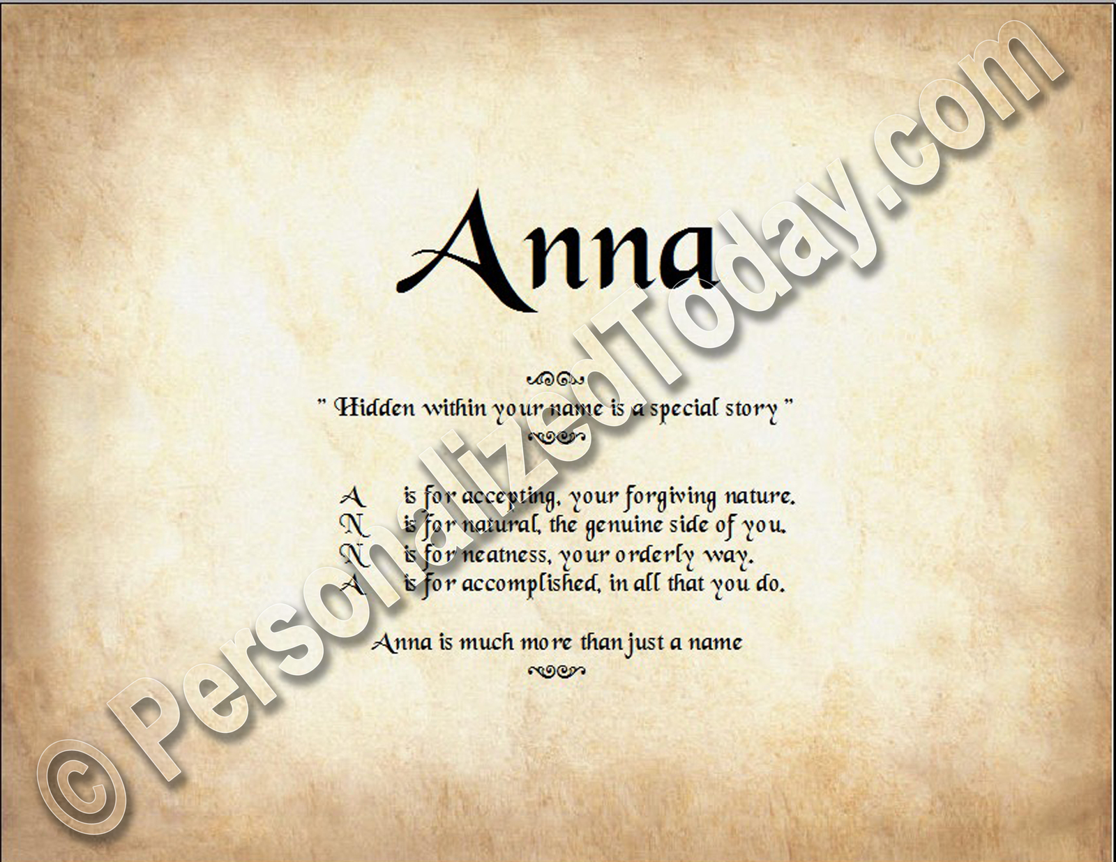 Anna  Hidden Within Your Name Is A Special Story Letter Poem 8.5 x 11 Print
