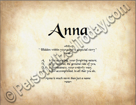 Anna  Hidden Within Your Name Is A Special Story Letter Poem 8.5 x 11 Print - $8.95