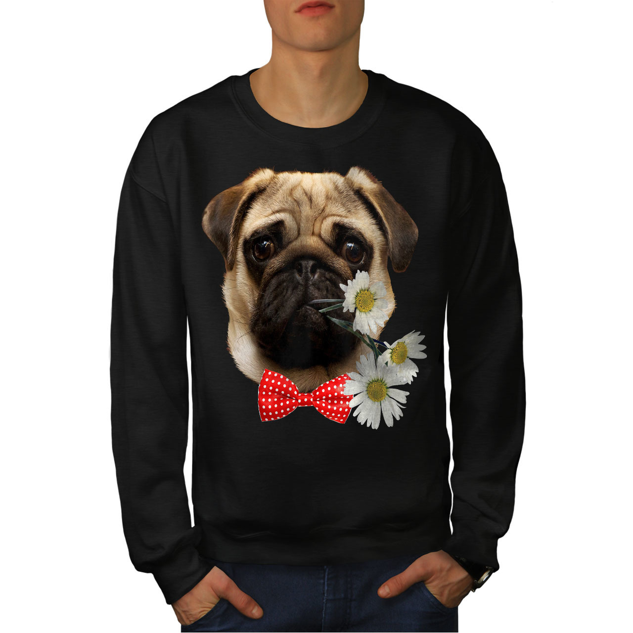 Primary image for Pug Puppy Admirer Jumper Date Flower Men Sweatshirt