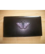 Purple Butterfly Design Black Leather Checkbook Free Shipping - $20.00