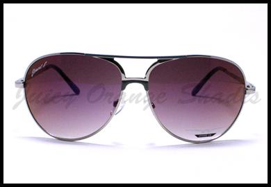 Classic Aviator Sunglasses for Men Women Flat Top Round Frame SILVER BLUE