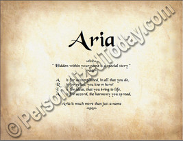 Aria  Hidden Within Your Name Is A Special Story Letter Poem 8.5 x 11 Print - $8.95