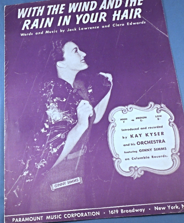 "Primary image for Vintage Sheet Music - 1940 ""With The Wind and The Rain In Your Hair"" #7856"