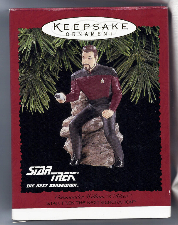 Primary image for Star Trek Commander Riker Action Figure Hallmark Christmas Ornament new in box