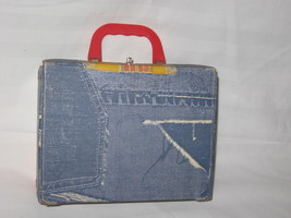 vintage 1960s vynil denim print lunchbox - $25.00