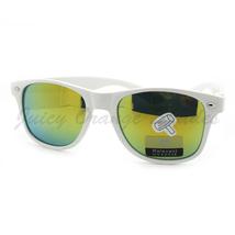 Classic Horn Rim Sunglasses Spring Hinge WHITE Frame YELLOW Lens - $6.88