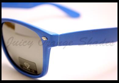 Classic Horn Rimmed Sunglasses Mirror Lens 80's Old School Frame BLUE