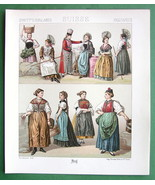 SWITZERLAND Women Fashion Appenzell Bern - COLOR Litho Print by A. Racinet - $9.45