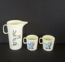 Bugs Bunny Tea Set Pitcher + 2 Mug Cups 1996 Chilton Globe Warner Bros P... - $15.82