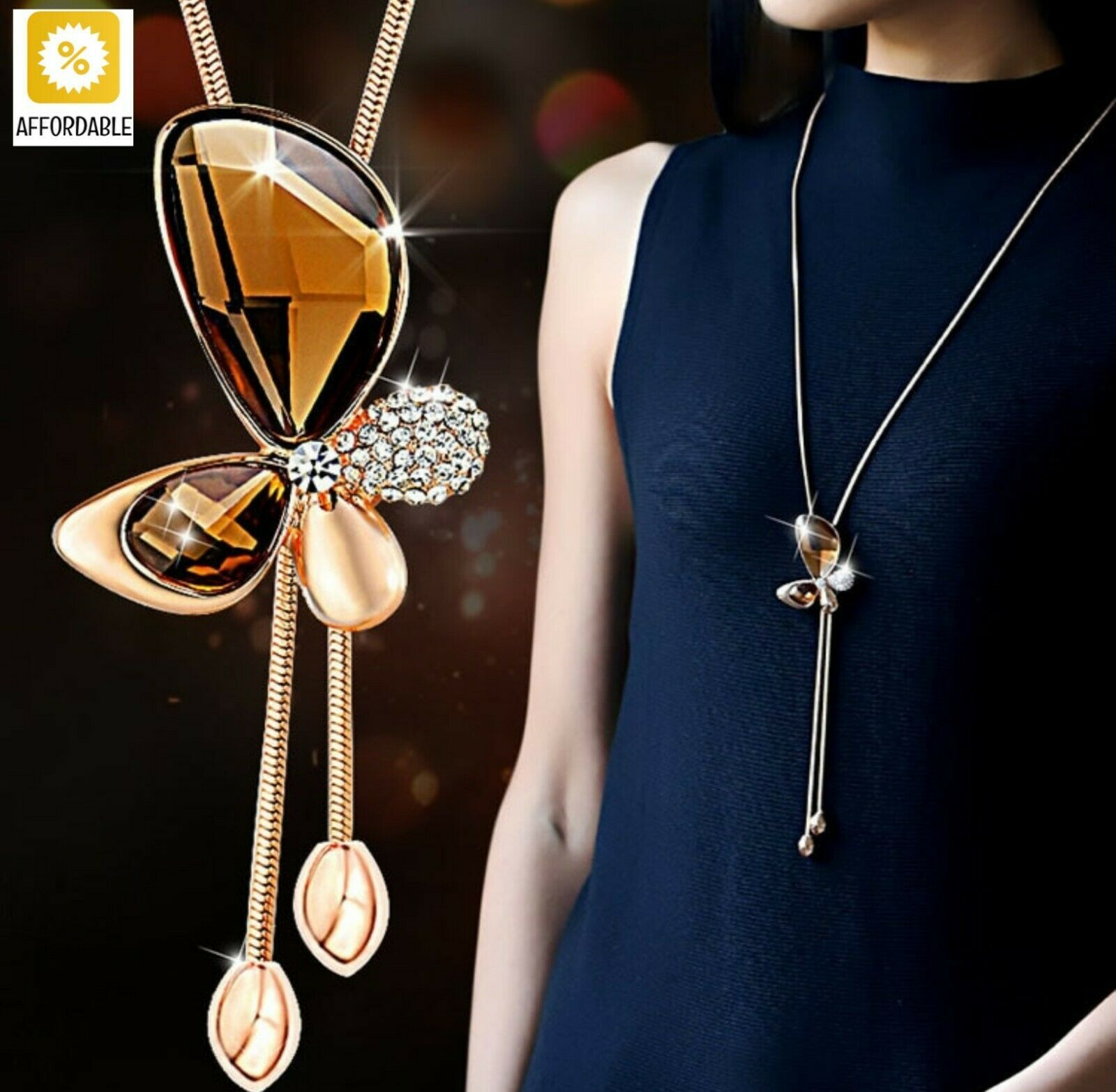 Necklace For Women Classic Crystal Butterfly Tassel Long Necklaces Pendants Gift - $9.88