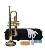Merano B Flat GOLD Trumpet with Case and Mouth Piece, Gloves, Oil - $98.00