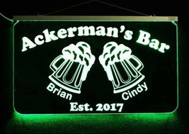 Personalized Bar Sign, LED Man Cave Sign with beer mugs - Home bar decor - $140.58