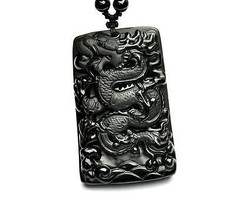 natural Obsidian  Chinese dragon good luck gift pendant  - $9.89