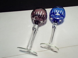 "2 CUT TO CLEAR TALL 8 1/4"" WINE GLASSES / STEMS~~BEAUTIES~~unknown maker - $39.99"